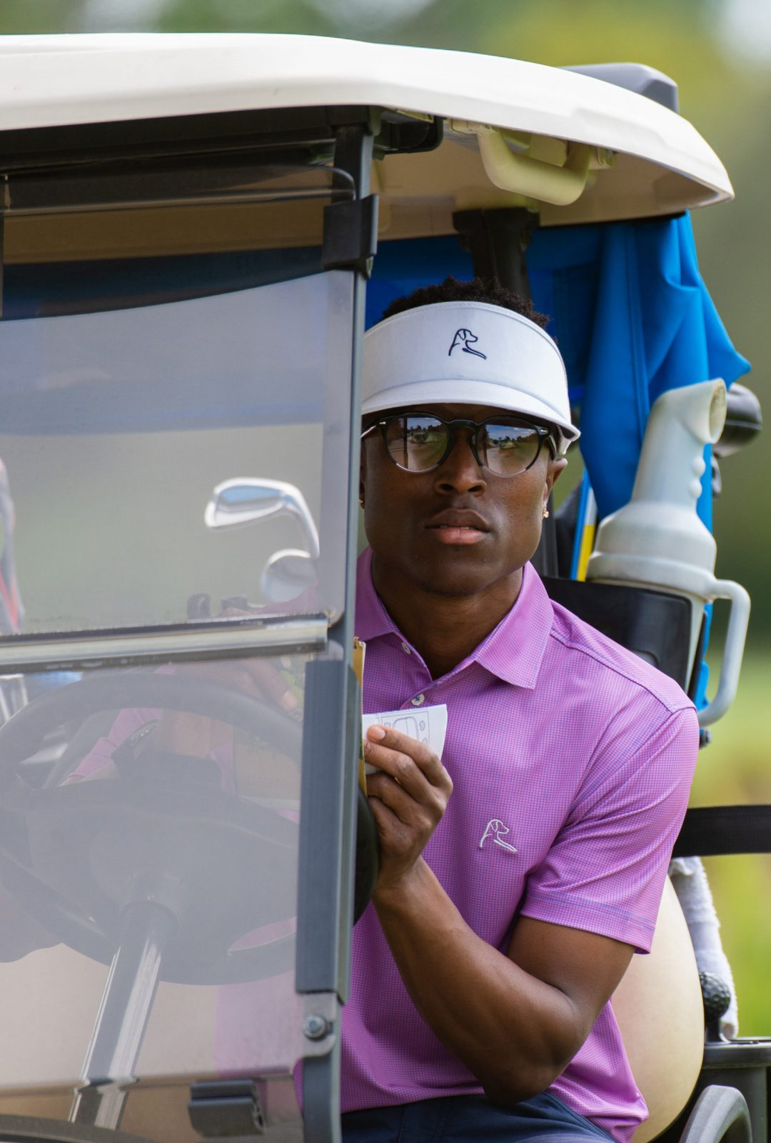 PORT ST. LUCIE, FL - FEBRUARY 21: Joe Hooks in his golf cart on the third hole during the final round of the APGA Tour held at the PGA Golf Club on February 21, 2021 in Port St. Lucie, Florida. (Photo by Hailey Garrett/PGA of America)